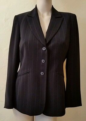 KASPER BLACK PIN STRIPE BLAZER SUIT JACKET CAREER LINED PERFECT GREAT BASIC 10P