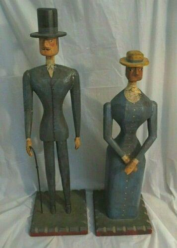 "VINTAGE FOLK ART WOOD CARVED & PAINTED MAN & WOMAN FIGURES (2) Extra Tall (33"")"