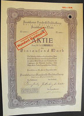 Frankfurt Frankfurter Baustoff-Beschaffung Aktie 1000 Mark 1922 Dachziegel