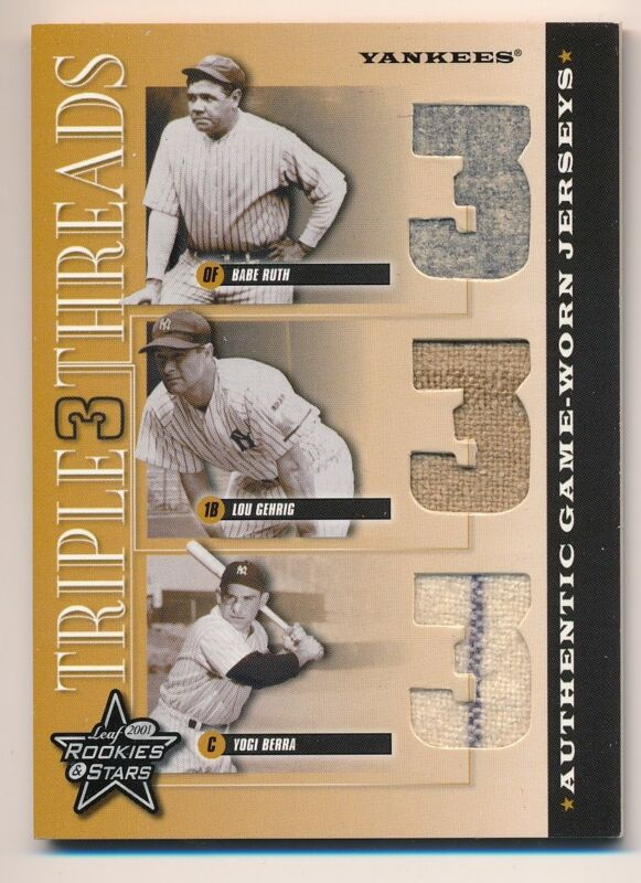 pretty nice e66f9 566b6 Details about 2001 Leaf Rookies & Stars * BABE RUTH * GEHRIG * BERRA Game  Worn Jersey * #/100