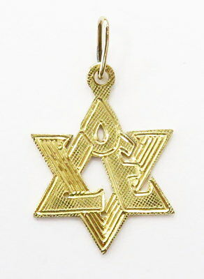 Love Star Of David Pendant - 14K Yellow Gold Jewish Star of David Love Necklace Charm Pendant ~ 1.3g