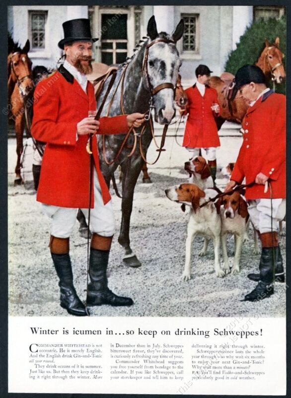 1958 foxhound fox hound hunt pack hunter horse Schweppes vintage print ad