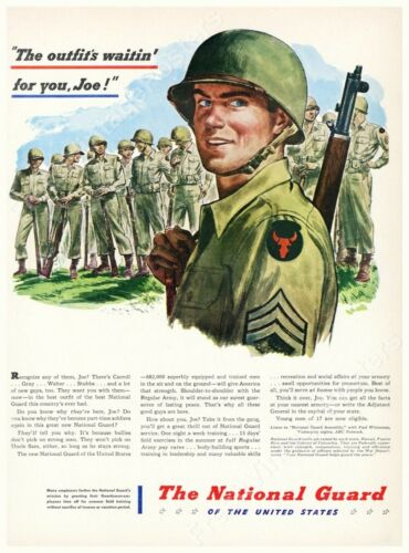 1947 34th Red Bull Infantry soldier US National Guard ad new poster 18x24