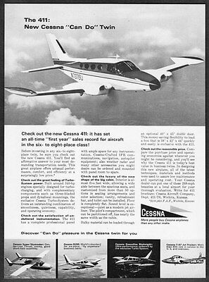 """1962 Cessna Twin Airplane photo """"Discover 'Can Do' Pleasure"""" vintage print ad"""