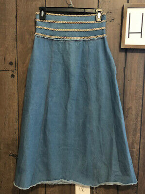 """Zayan The Label"" Denim Maxi Skirt With Pockets S"