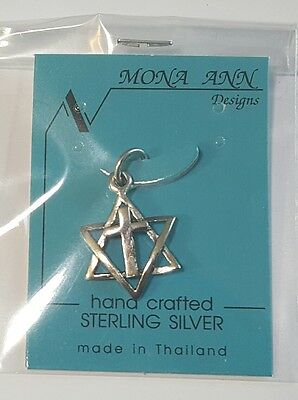 Star of David with Center Cross Pendant .925 Sterling Silver