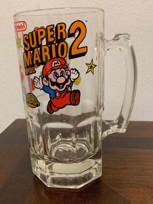1989 Super Mario Bros 2 Nintendo Glass Beer Mug Excellent Condition