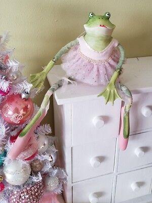 "Patience Brewster Krinkles Ballerina Frog Valentine Figure Ornament 12 "". As Is"