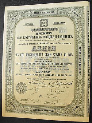 Rußland Russia Mines de Kertch Aktie 1899