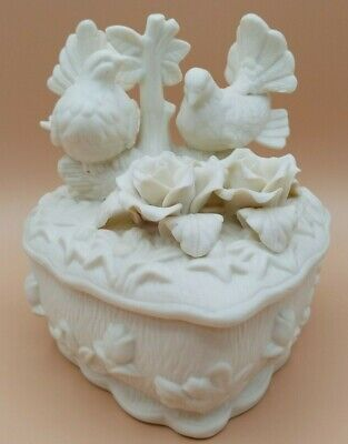 Victorian Cream Bisque Porcelain Heart Shaped Trinket Jewelry Box With Doves