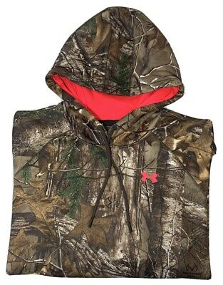 Under Armour Cold Gear Realtree Hooded Camouflage Sweatshirt Women's Size Large