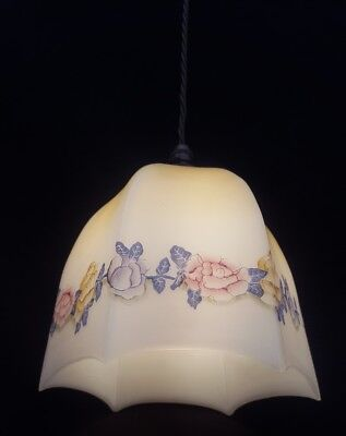 Glass Hanging Pendant Light/Lamp With Flowers