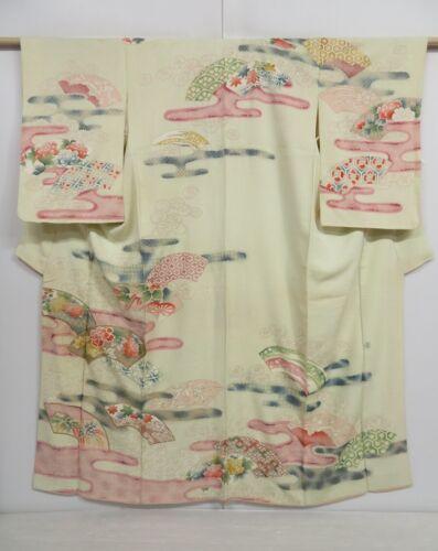 1020i02z750 Vintage Japanese Kimono Silk TSUKESAGE Lime-White Jigami