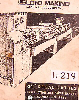 Leblond Makino 24 Regal Lathes 3929 Instructions And Parts Manual Year 1974