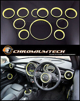 MINI Cooper/S/ONE F55 F56 F57 YELLOW Interior Rings for models w/Navigation XL