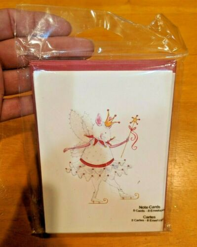 NEW Studio 18 WHITE MOUSE QUEEN SKATING 8 Blank Note Cards & Envelopes Whimsical