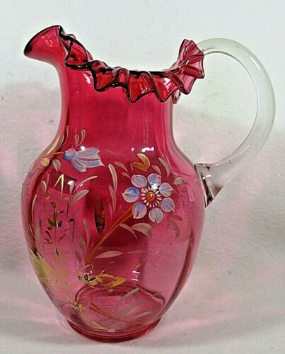Victorian Cranberry Glass Hand Painted Enamel Water Pitcher Hand Blown
