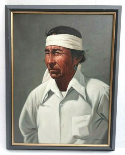 Original Native American Indian Portrait Painting Oil On Canvas 23 x 17""