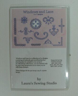 NEW Laura's Sewing Studio windows lace cutwork patterns CD machine -