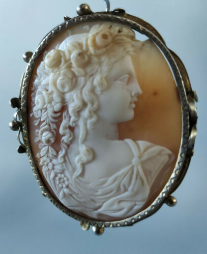 Antique Cameo Brooch Handmade Early 1900s