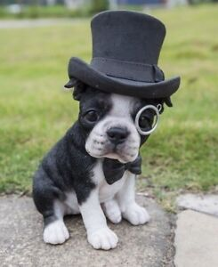 Boston Terrier Dog Top Hat Bow Tie Sitting Figurine - Decor Home / Garden New
