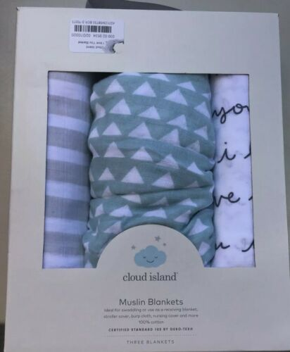 Cloud Island Muslin Swaddle Blankets 3-Pack New