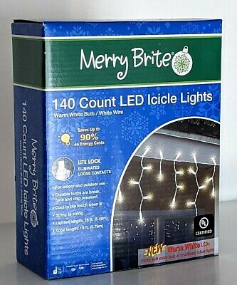 Merry Brite 140 Count LED Icicle Lights Warm White Energy Saver String Light