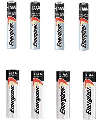 Energizer Alkaline AA & AAA Max Batteries(4+4-Pack) 8 Batteries New