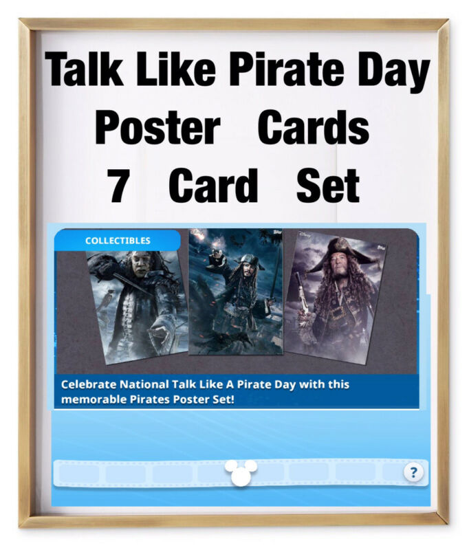 TALK LIKE A PIRATE DAY-7 POSTER CARD SET-TOPPS DISNEY COLLECT