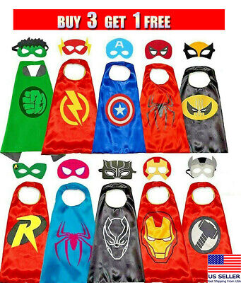 Kid Superheroes Costumes (Superhero Capes with Masks Costumes for Kids Boys Girls Dress Up Cartoon)