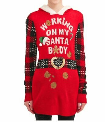 Girls Ugly Sweater (Ugly Christmas Sweater Hoodie Sherpa Santa Body Red Junior Girls)