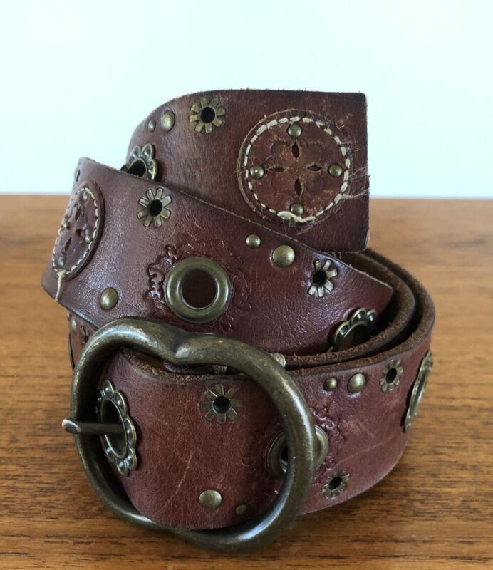 Vintage Leather Belt 70s Hippie Boho Adjustable Flower Hand Tooled Stamped Brass
