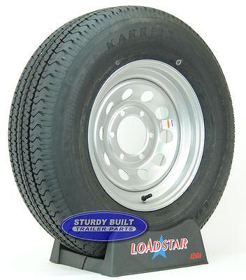 "(2)- Trailer Tires ST 225/75R15 6 Bolt 15"" Silver Gray Mod 15"" Radial Wheel Rim"