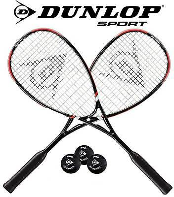 2 x Dunlop BLACKSTORM POWER HL Squashschläger besaitet + 3 Grips +Hüllen +1 Ball