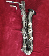 Prof TAISHAN Black Silver Nickel Baritone Saxophone Eb Sax Low A High F 2 necks