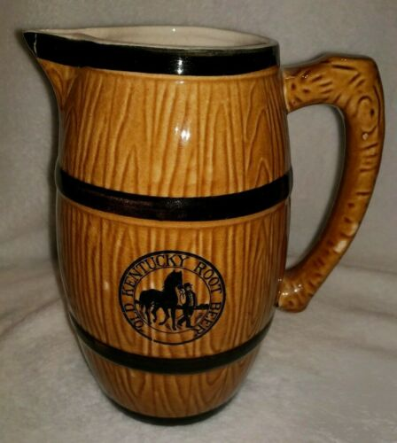 Vintage Old Kentucky Root Beer Barrel Pitcher Hand Painted Japan