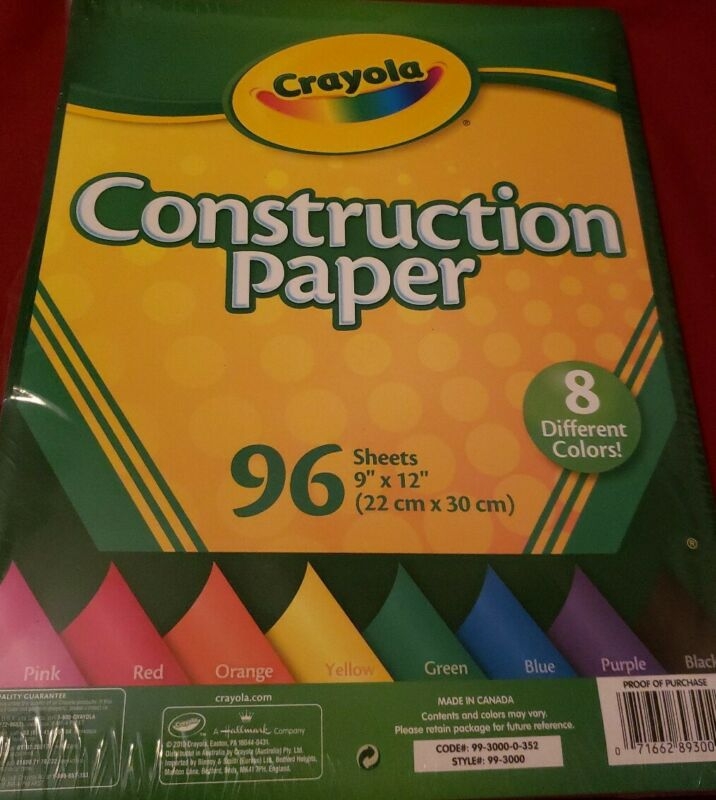 "CRAYOLA CONSTRUCTION PAPER 96 SHEETS 9"" X 12"" IN 8 DIFFERENT COLORS - NEW"