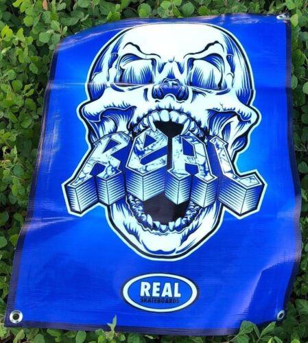 Real skateboard poster skull sign deck board banner blue board