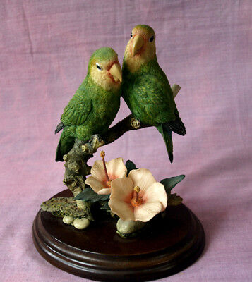 Country Artists 'Lovebird pair with hibiscus' 20thC Birds of the World series.