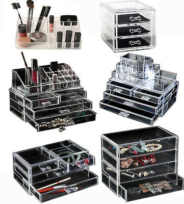 Choice of 6 Clear Acrylic Cosmetic Organizer Makeup Jewellery Nail Varnish Rack
