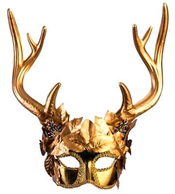 Mythical Creatures Golden Faun Masquerade Mask Antlers Deer Fantasy - Fantasy Mask