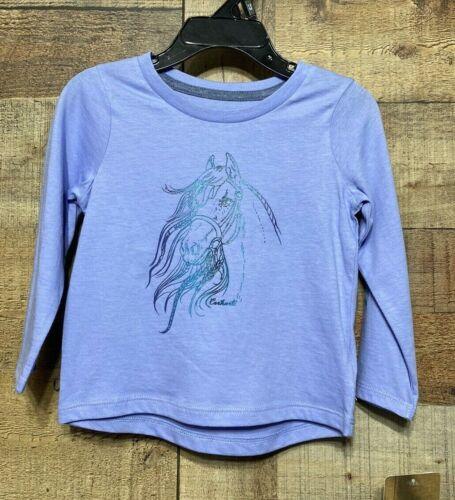 Carhartt Girls 6M Long Sleeve Purple Graphic Horse T-Shirt Logo New w/Tag