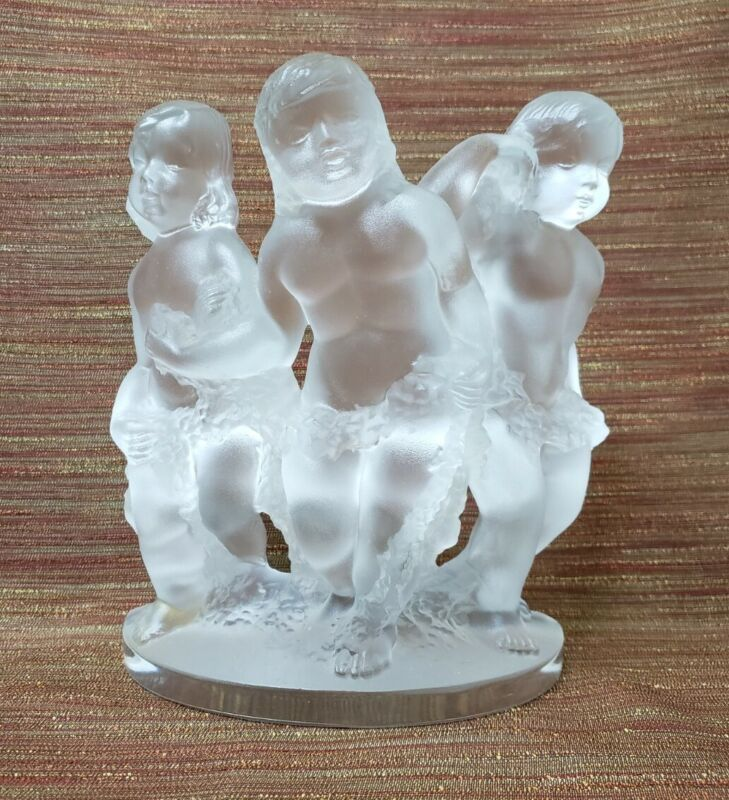 Lalique Luxembourg Three 3 Cherubs Figurine - Signed - Glows Beautifully!