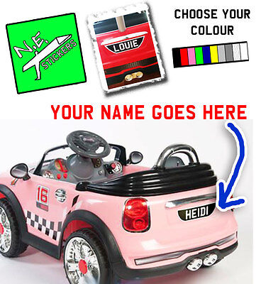 back only personalised number plate for kids electric mini cooper car
