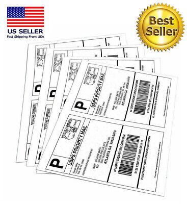 200 Labels Half Sheet Self Adhesive Shipping Labels For Laser Inkjet Printers