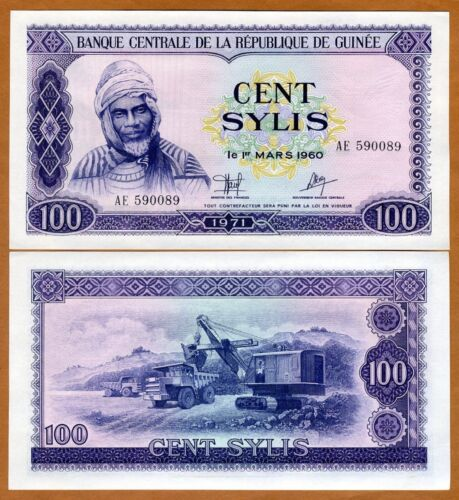 Guinea,100 Sylis, 1971, P-19, UNC > large