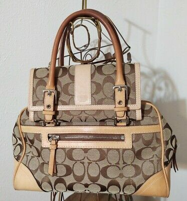 Coach Satchel with Tan Leather Accents and Matching Wallet