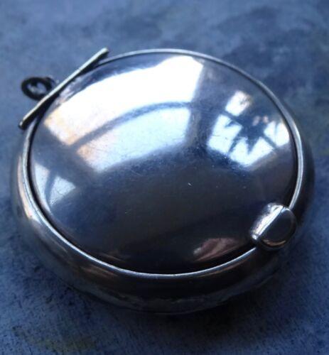 antique Edwardian h/m SILVER mirror locket compact pendant for necklace -D223