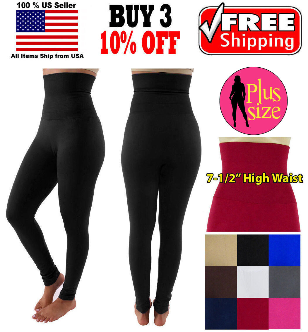 Women PLUS SIZE Slim Tummy Control High Waist Body Shaper Ankle Fleece Leggings Clothing, Shoes & Accessories