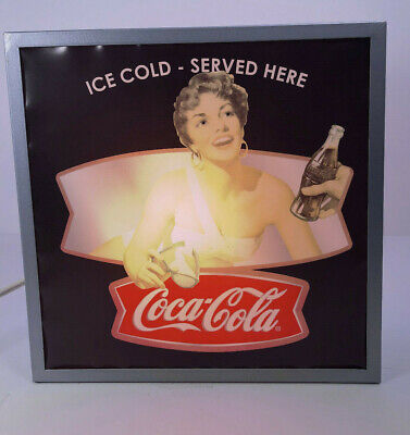 Coca Cola Double Sided Table Top Metal Light Sign Pin Up Girl Enjoy Coke